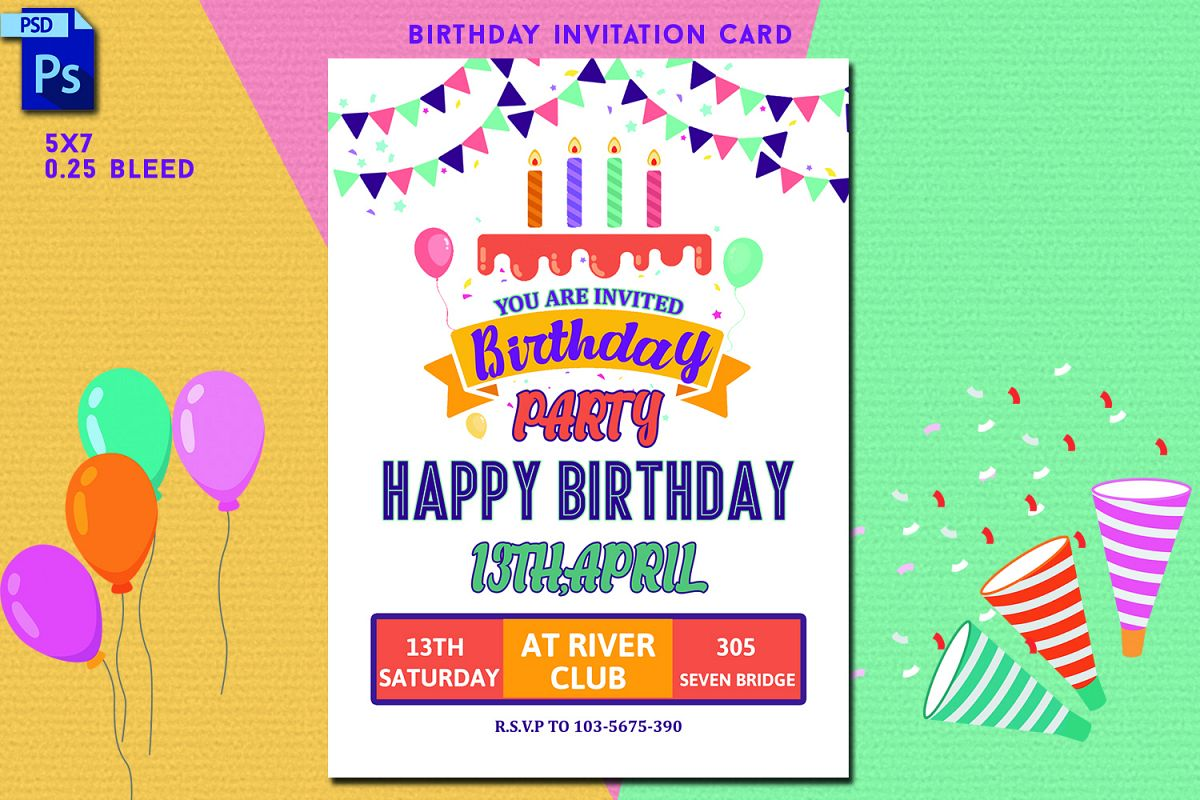 Astounding Birthday Invitation Card 346574 Card Making Design Bundles Personalised Birthday Cards Paralily Jamesorg