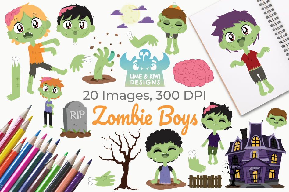 Zombie Boys Clipart, Instant Download Vector Art example image 1