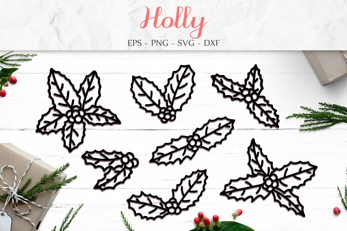 Holly Leaves svg png dxf eps - Holly Paper Cut example image 1