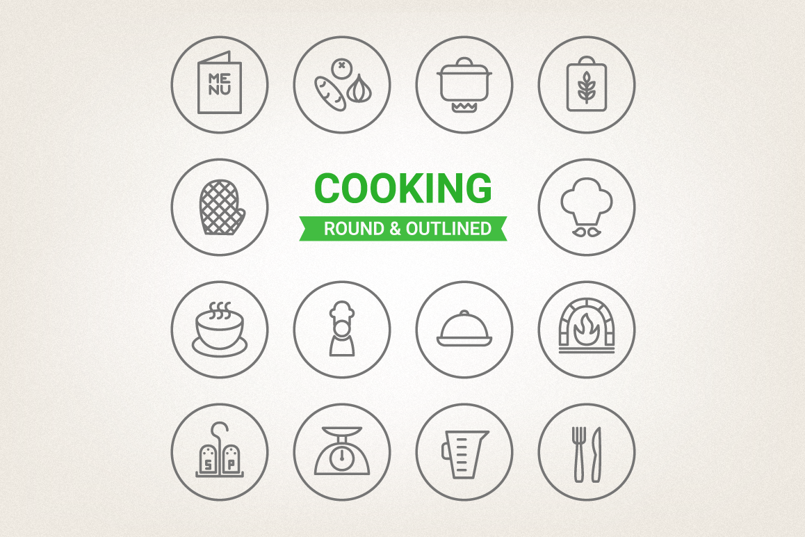 Circle Cooking Icons example image 1