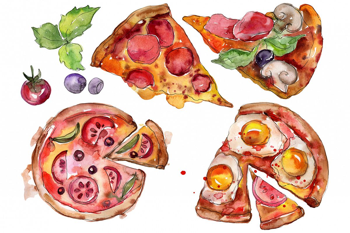 Pizza vegetable Watercolor png example image 1