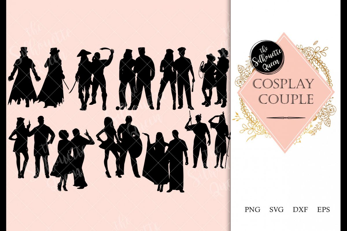 Cosplay Couples svg file, svg cut file, silhouette studio example image 1