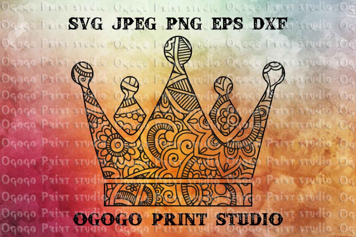 Crown Svg, Zentangle Svg, Princess Svg, Mandala svg, Cricut example image 1