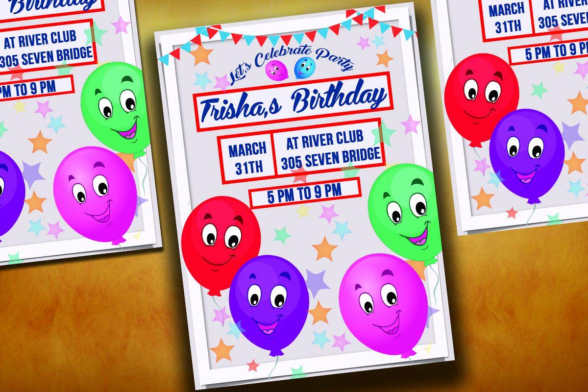 Happy Balloons Birthday Invitation Card example image 1