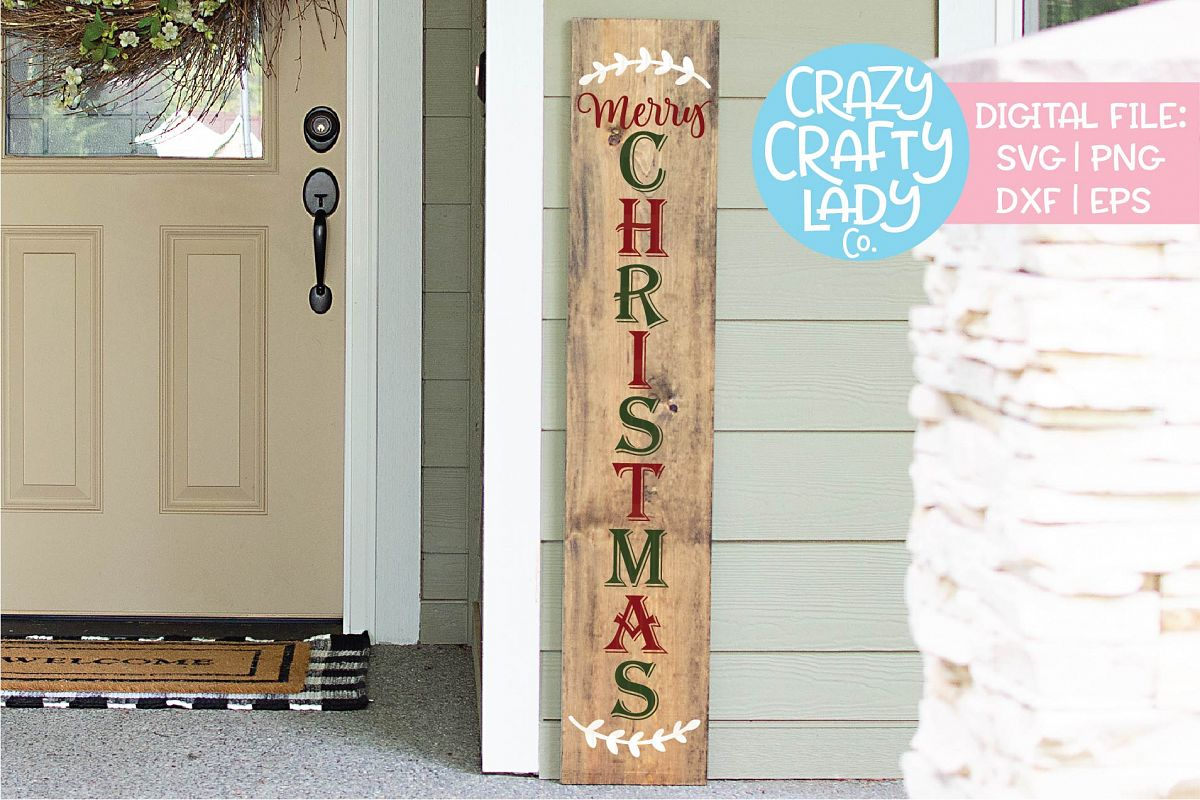 Merry Christmas Porch Sign SVG DXF EPS PNG Cut File example image 1