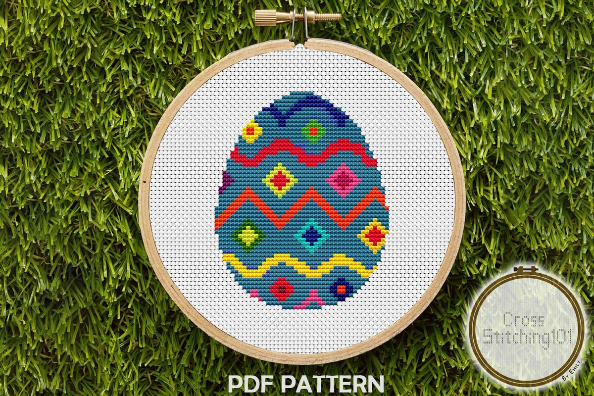 Easter Egg Modern Cross Stitch Pattern- Instant Download PDF example image 1