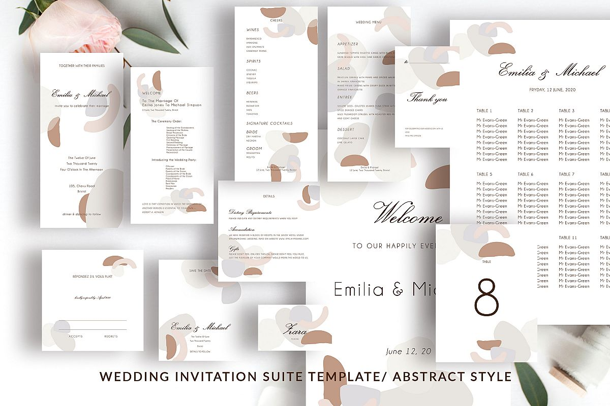 Abstract style Wedding Invitation Suite example image 1