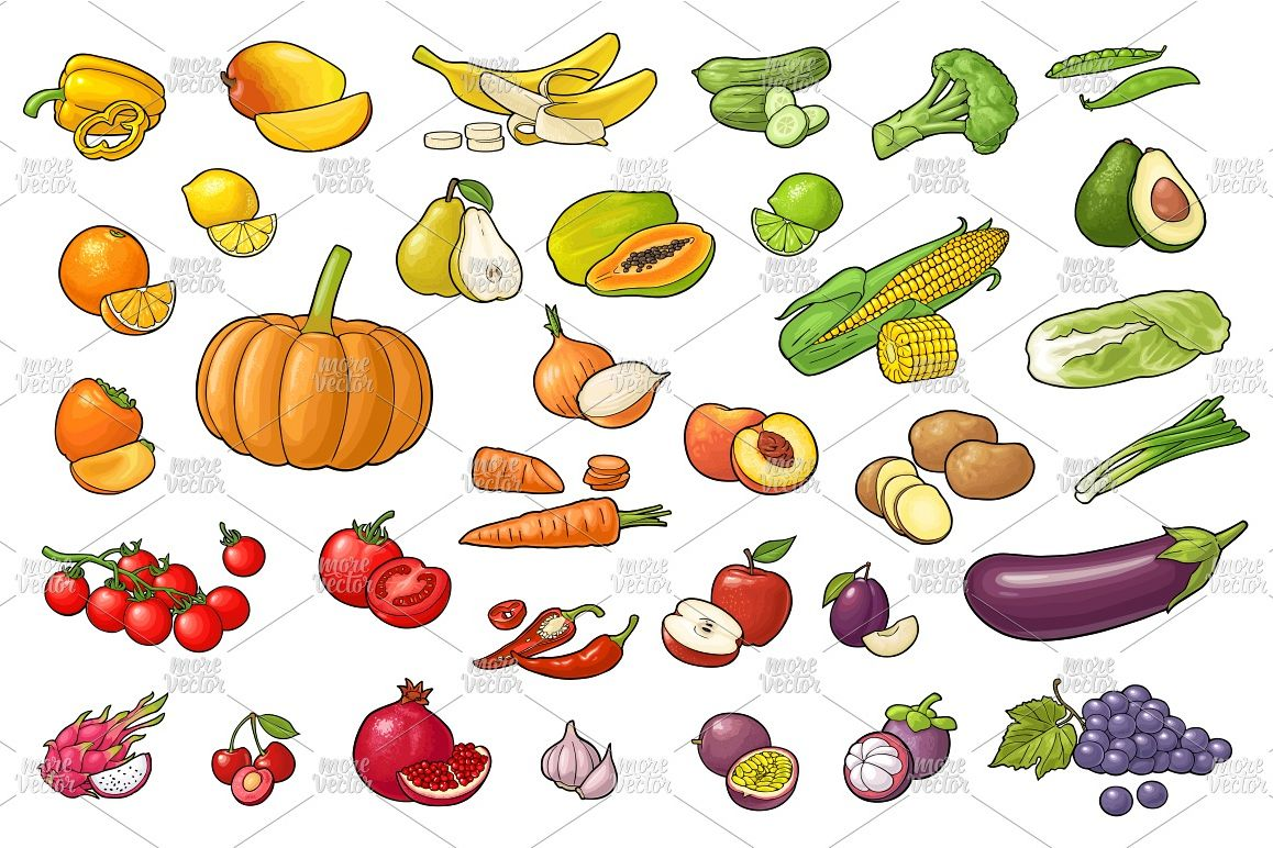 Set vegetables and fruits example image 1