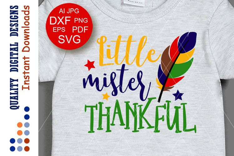Thanksgiving decor Little mister thankful svg saying Cricut example image 1