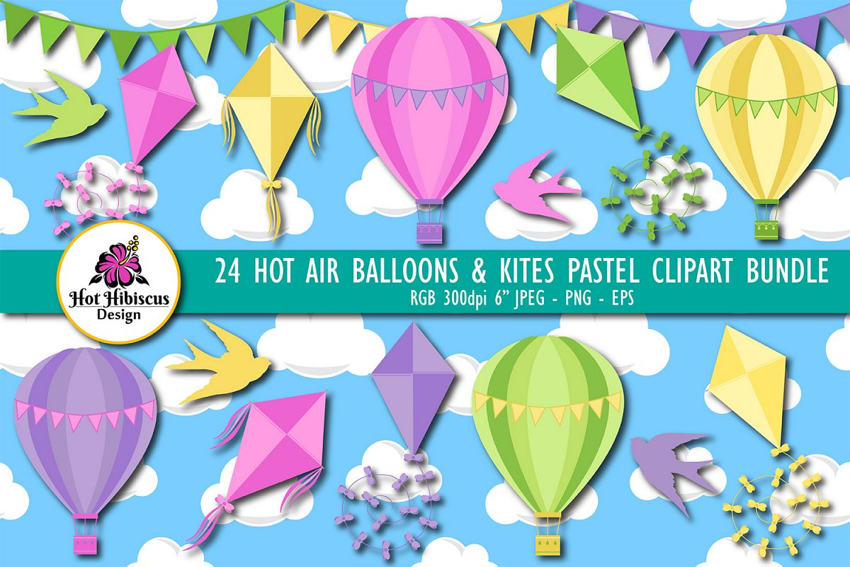 Hot Air Balloons and Kites Summer Clipart Bundle example image 1