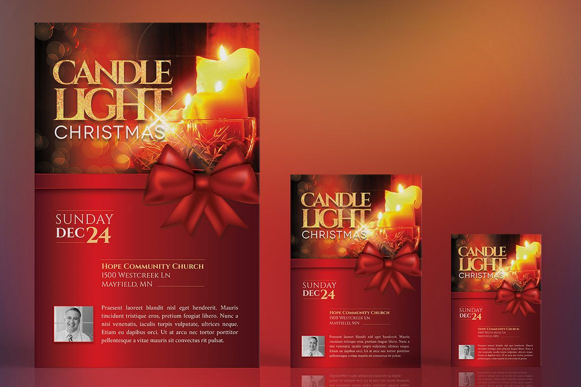 Christmas Candle Light Flyer Poster Template example image 1