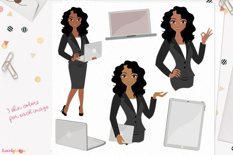 Woman business character clip art L110 Dezi example image 1