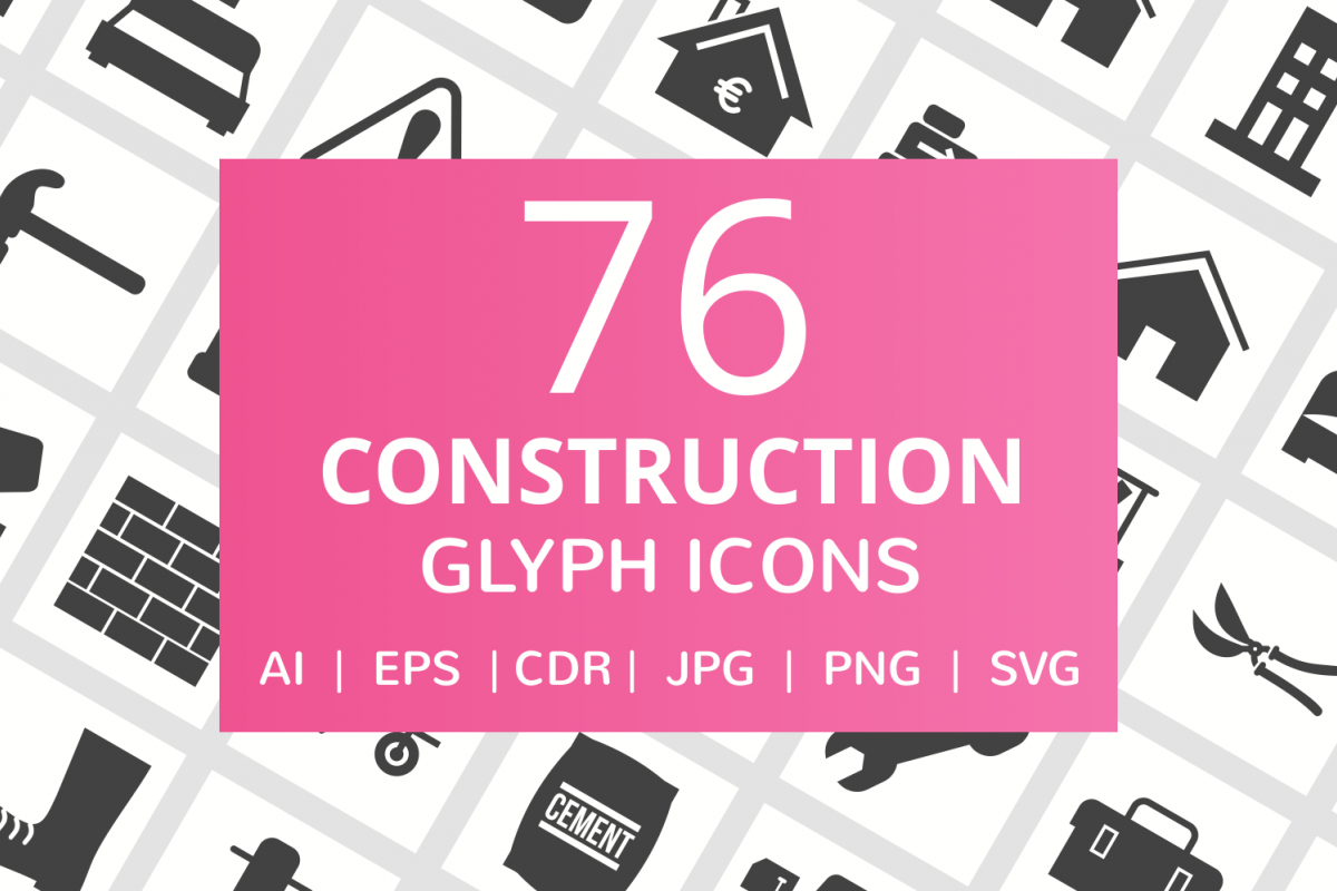 76 Construction Glyph Icons example image 1