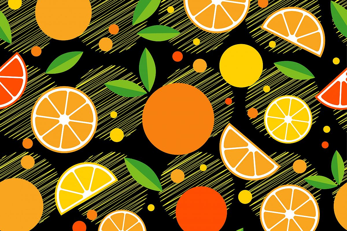 Seamless pattern with decorative oranges. Tropical fruits. Textile rapport.  example image 1