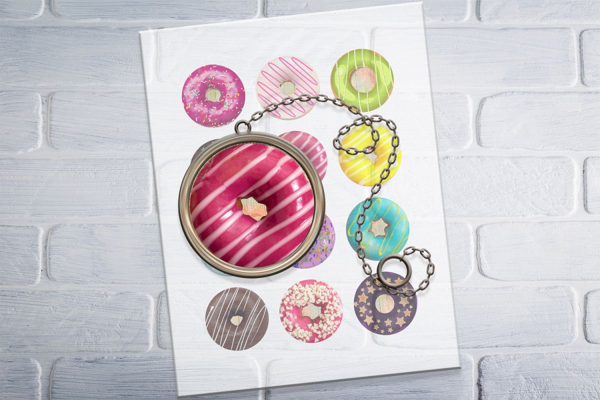 Donuts Printable Round images, Digital Collage Sheet, 50 OFF example image 1