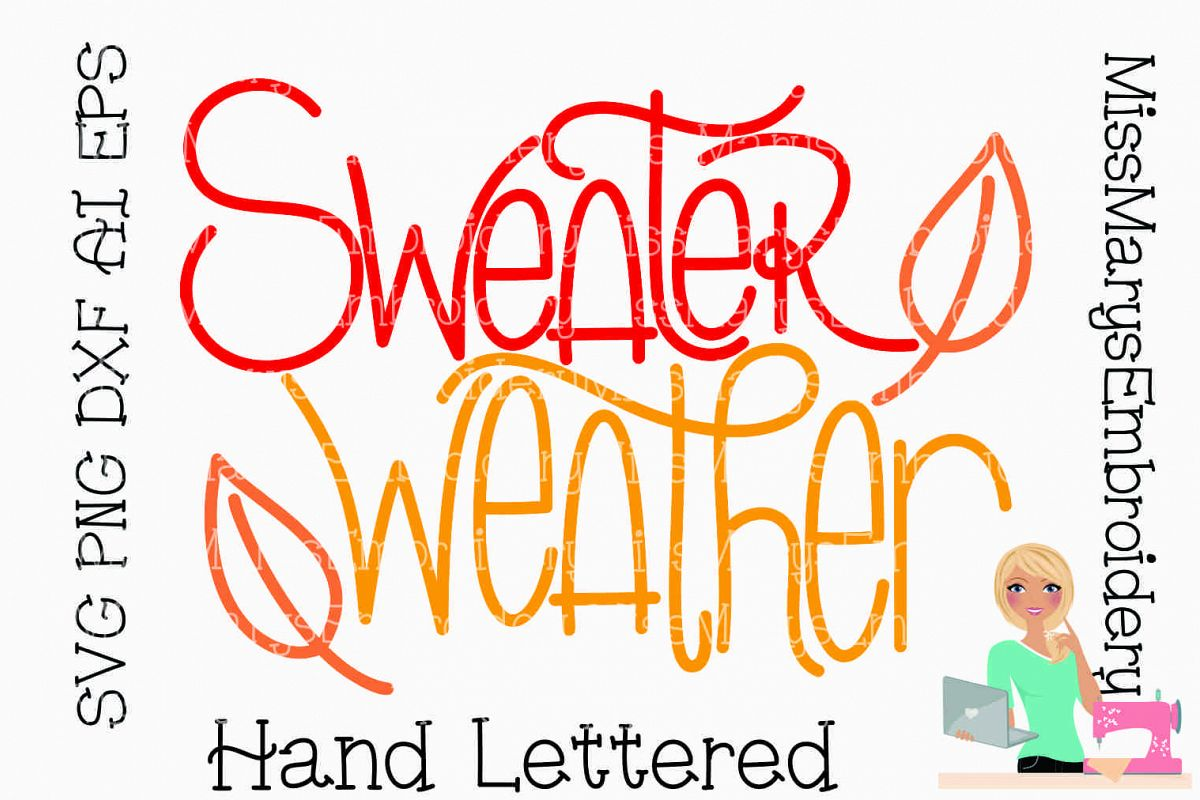 Sweater Weather SVG Cutting File PNG DXF example image 1