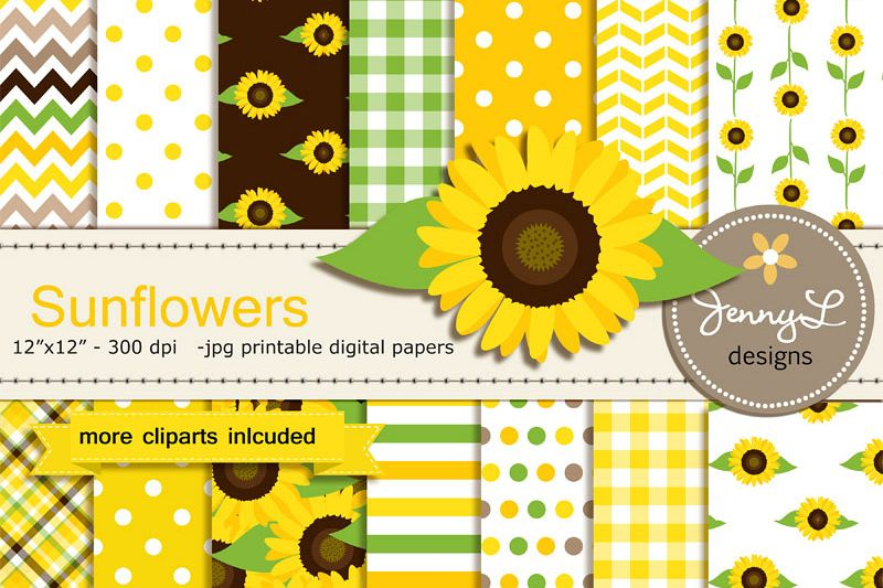 Sunflower Digital Papers And Clipart For Birthday Baby Shower