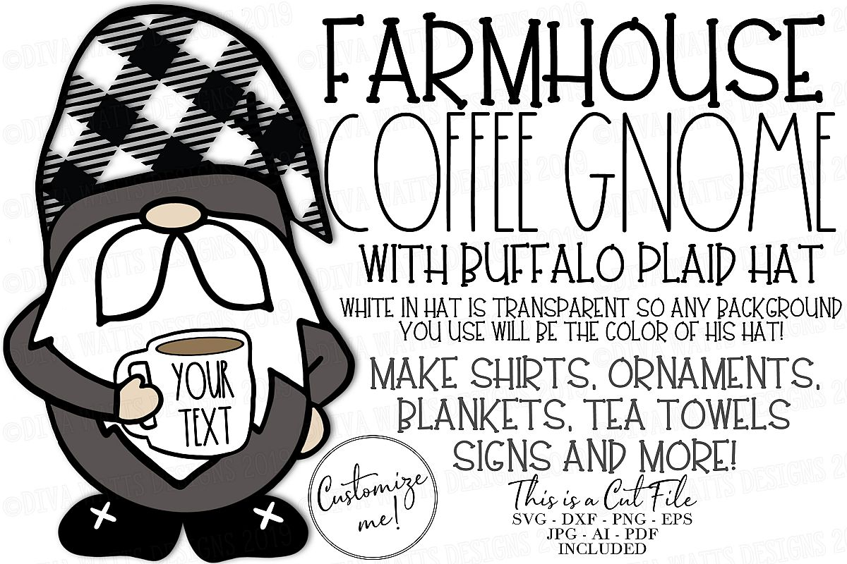 Farmhouse Coffee Gnome with Buffalo Check Hat Cut File SVG example image 1