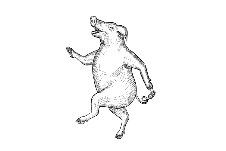 Happy Pig Dancing Drawing Retro Black and White example image 1