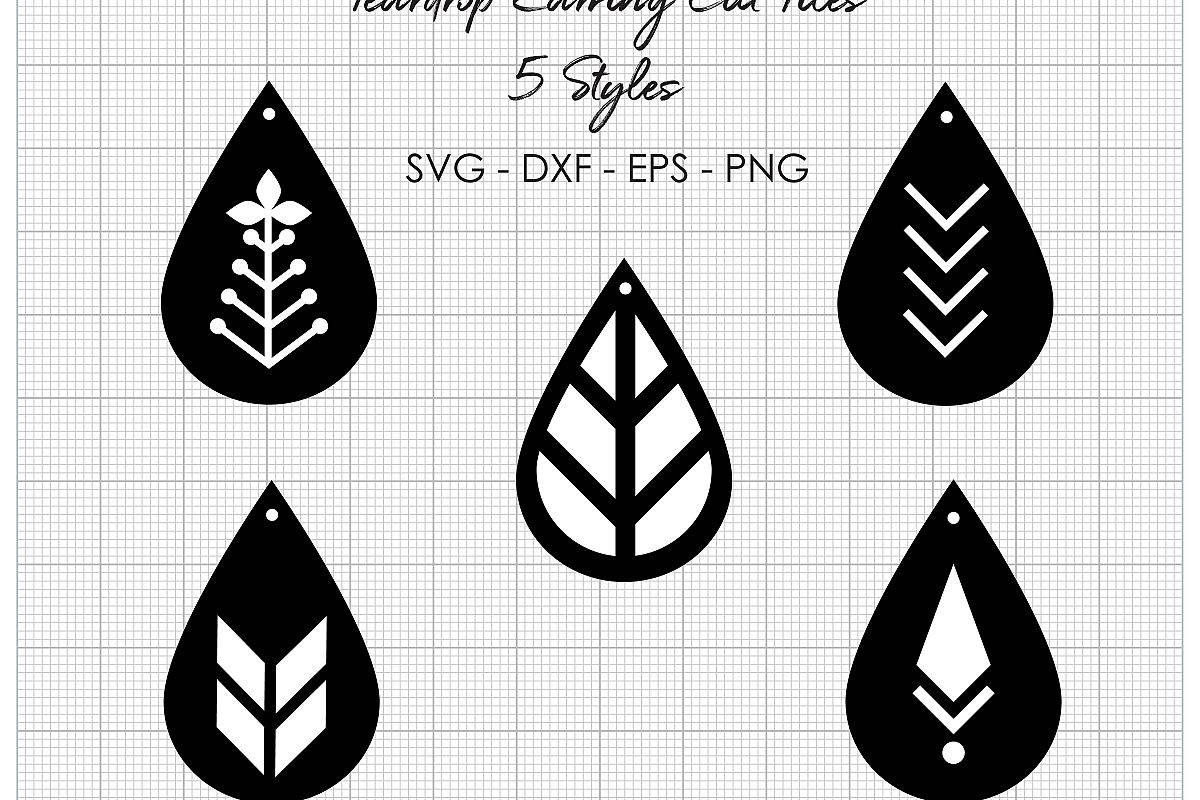 a2fe7a3c5 Teardrop Earring Cut Files - 4 File Types Included - SVG EPS DXF PNG  example image