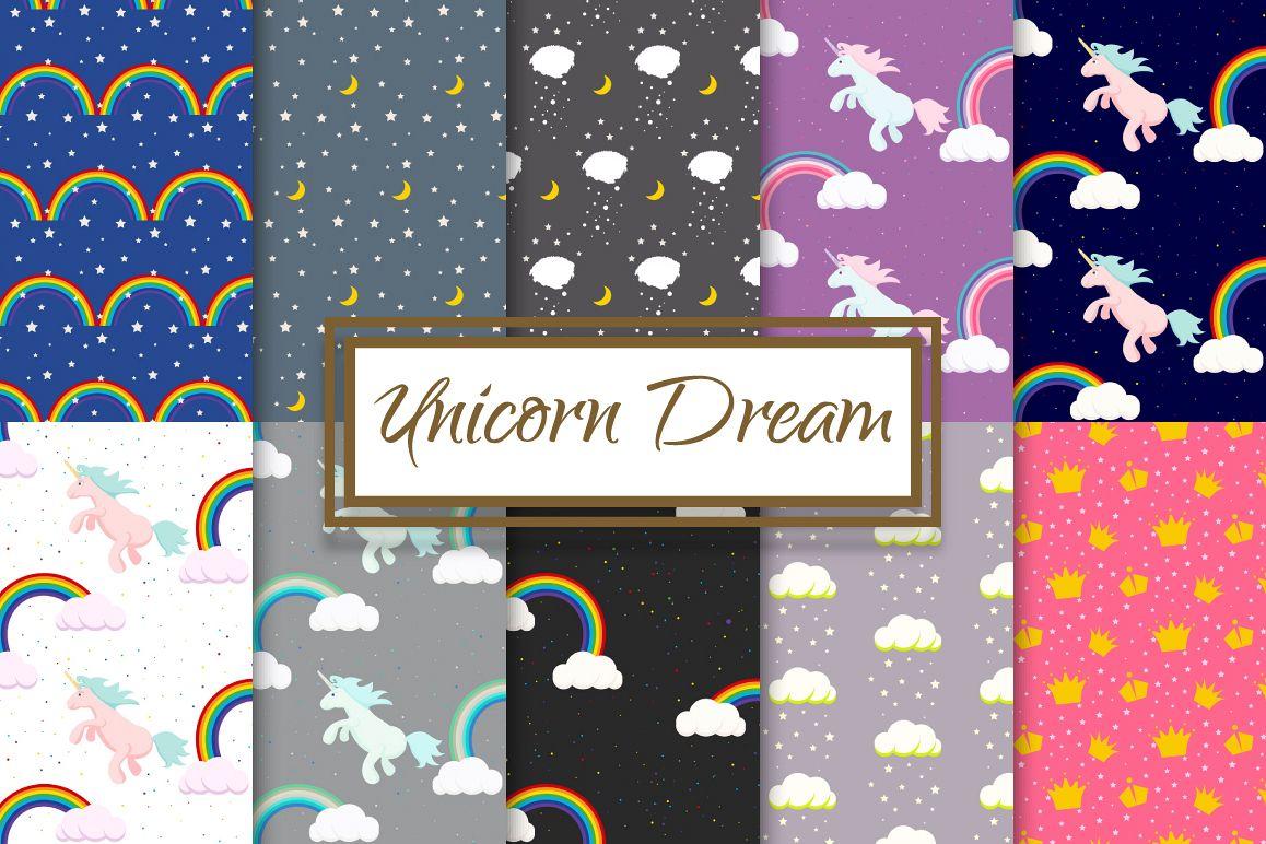 Unicorn Rainbow Dream Pattern Set example image 1