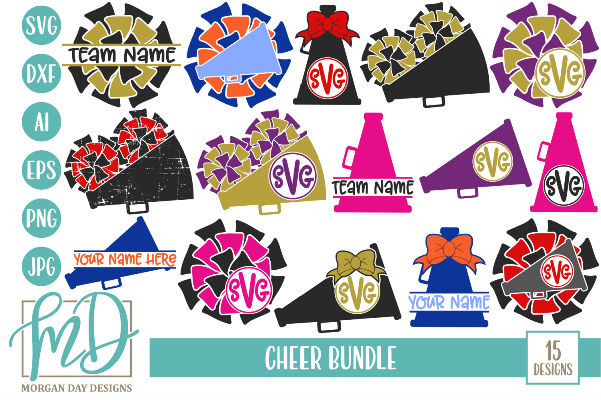 Cheer Bundle SVG, DXF, AI, EPS, PNG, JPEG example image 1
