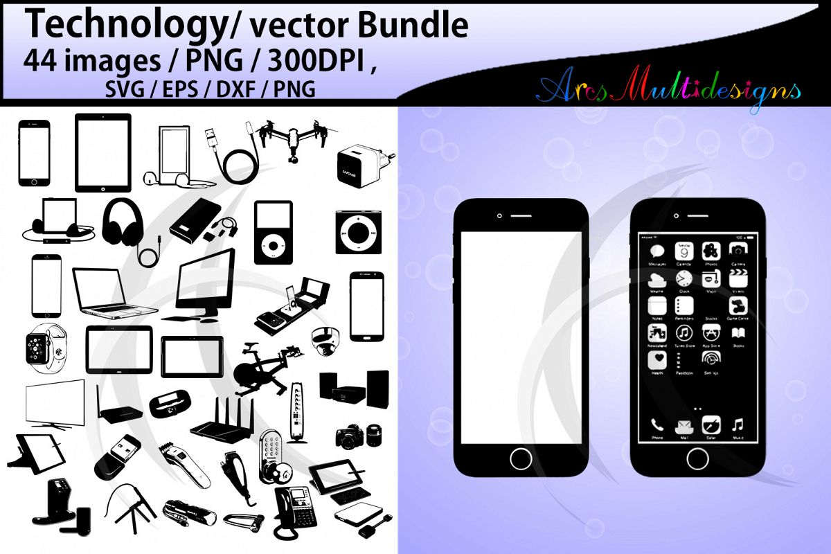technology silhouette bundle / SVG, EPS vectors example image 1