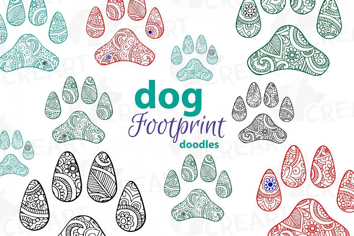 Dog Footprint Doodle Clip Art Hand Drawn Illustration