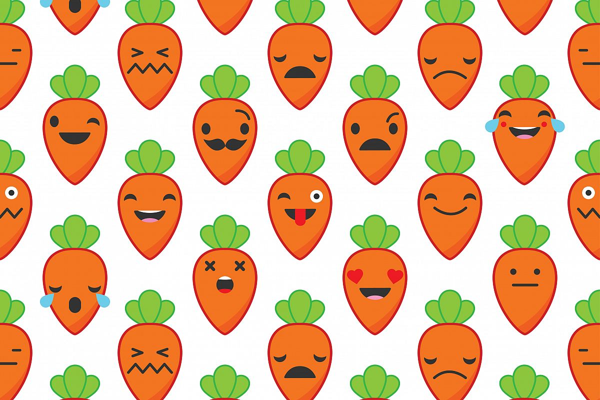Seamless background with Carrots emotions. Vector illustration. Textile rapport.  example image 1