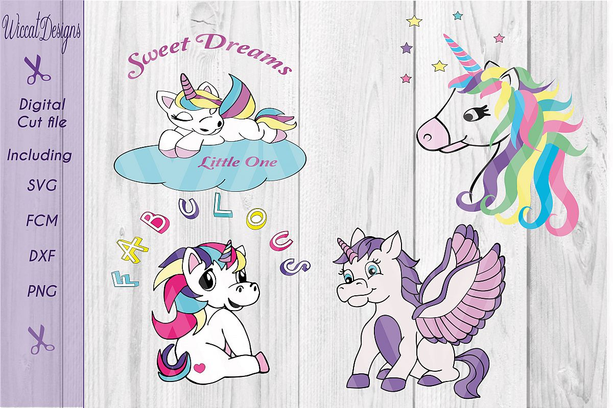 Unicorn bundle cut files, unicorn svg, nursery svg example image 1