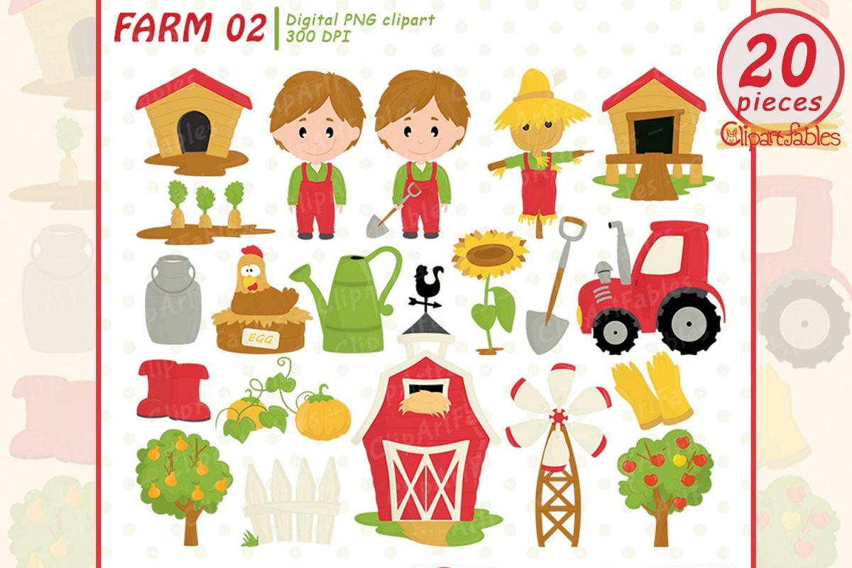 FARM clipart, Barnyard clip art, Old Macdonald had a farm example image 1