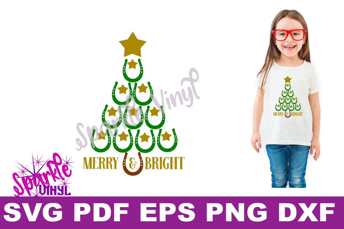 SVG Christmas Cowboy Cowgirl Christmas Horseshoe Tree Merry and Bright Stars Shirt Printable Svg files for cricut silhouette dxf png pdf eps example image 1