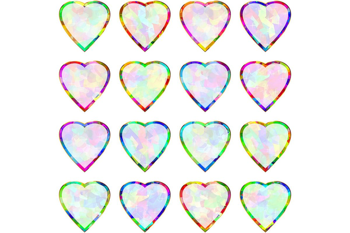 Vector Heart Shape Multicolor Frame Pendant Abstract Symbol Icon Set example image 1