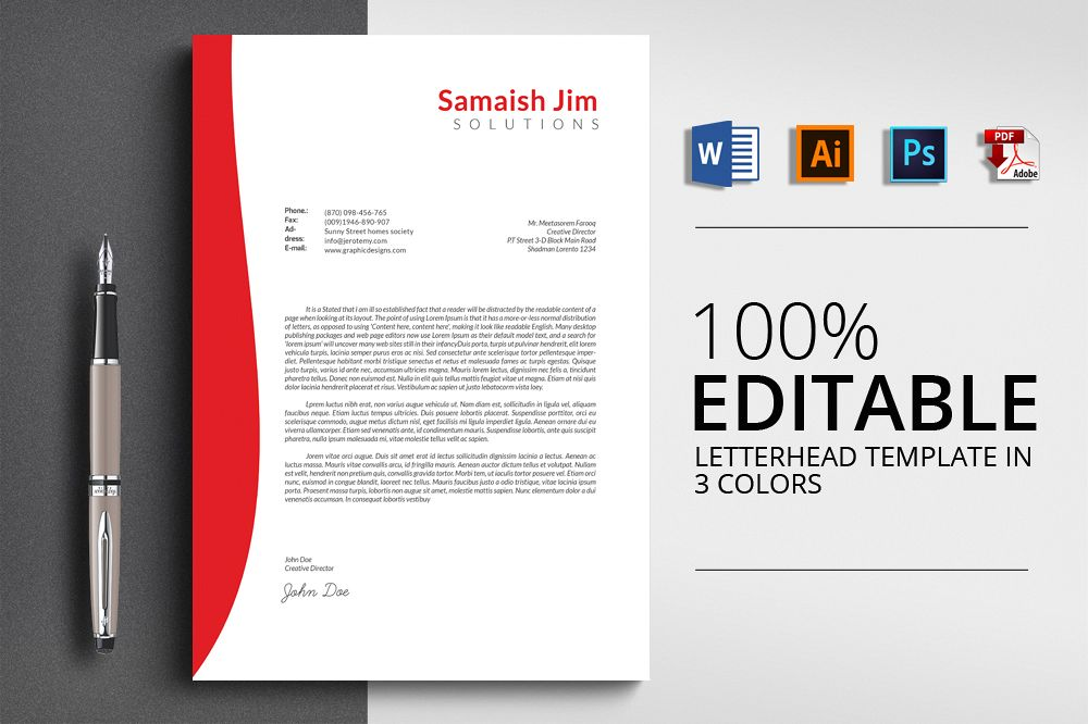 Letterhead template by designhub719 design bundles letterhead template example image thecheapjerseys Image collections