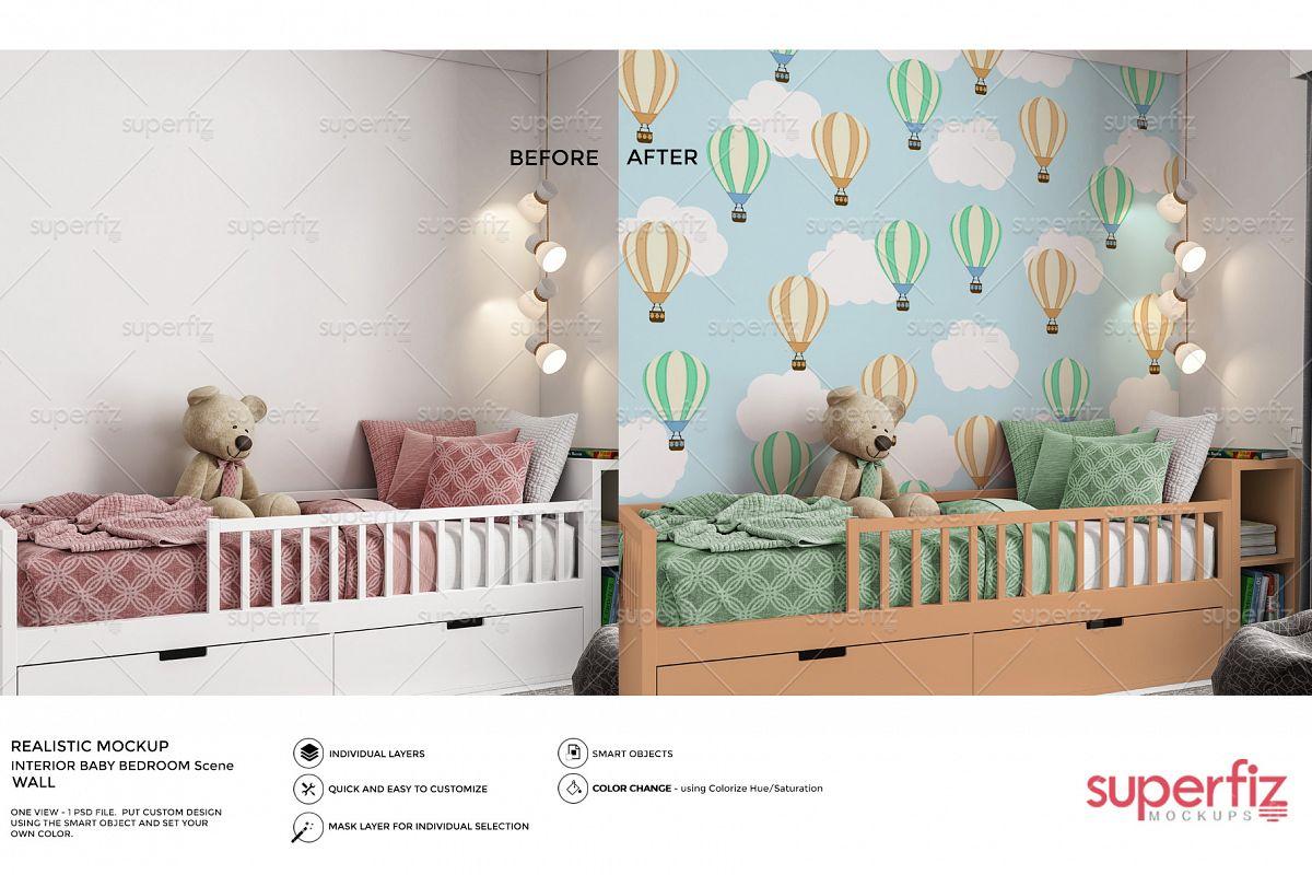 Wallpaper Mockup Kids Bedroom SM61 example image 1