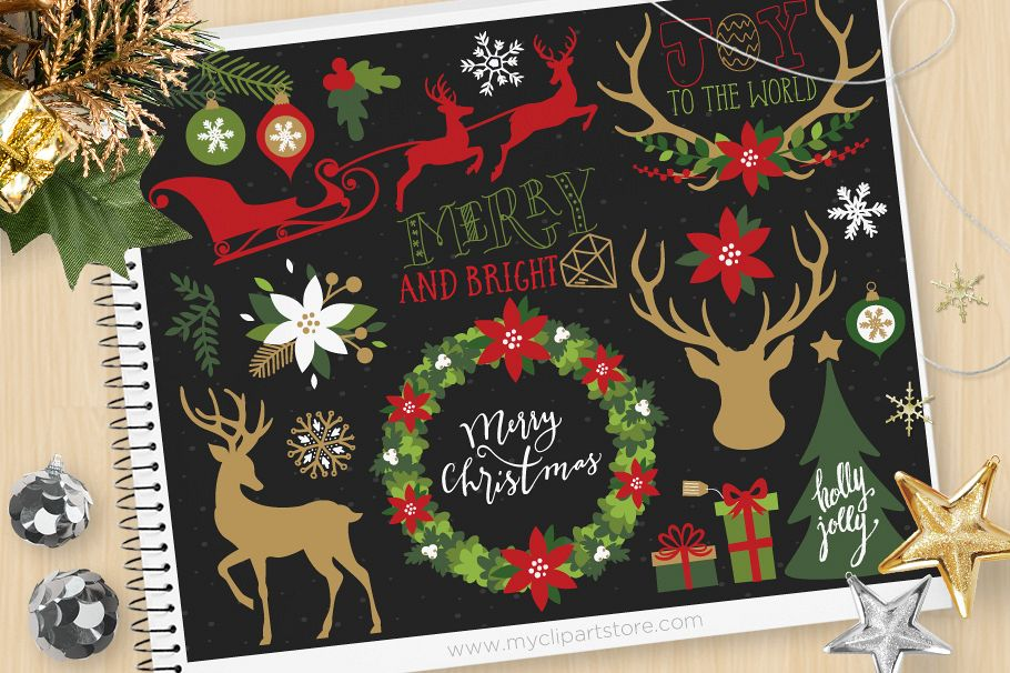 Rustic Christmas Elements 1, Reindeer - Vector Clip Art & SV example image 1