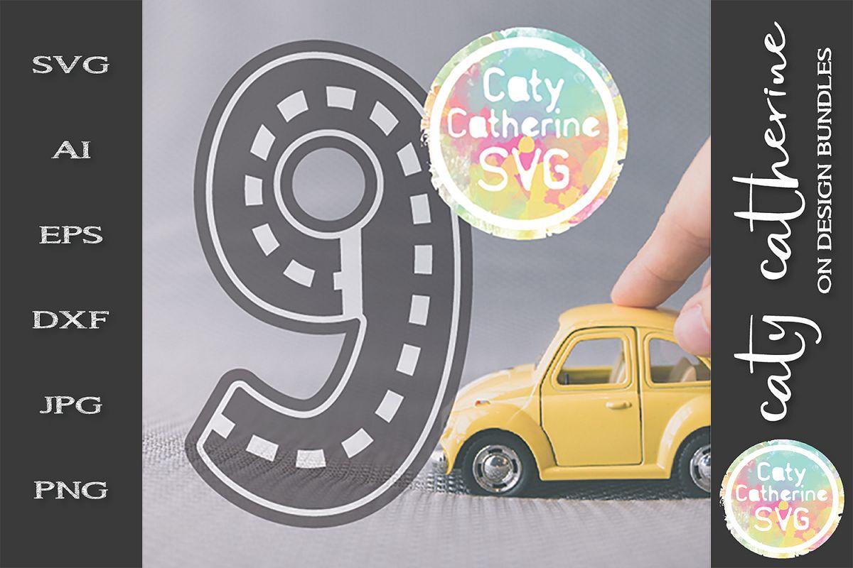 Road Map Kids Birthday Number Nine SVG Cut File example image 1
