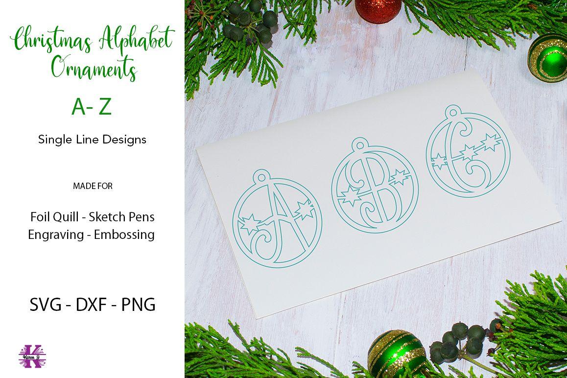 Christmas Alphabet.Christmas Alphabet Ornaments For Foil Quill