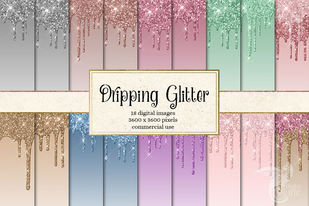 Dripping Glitter Digital Paper example image 1