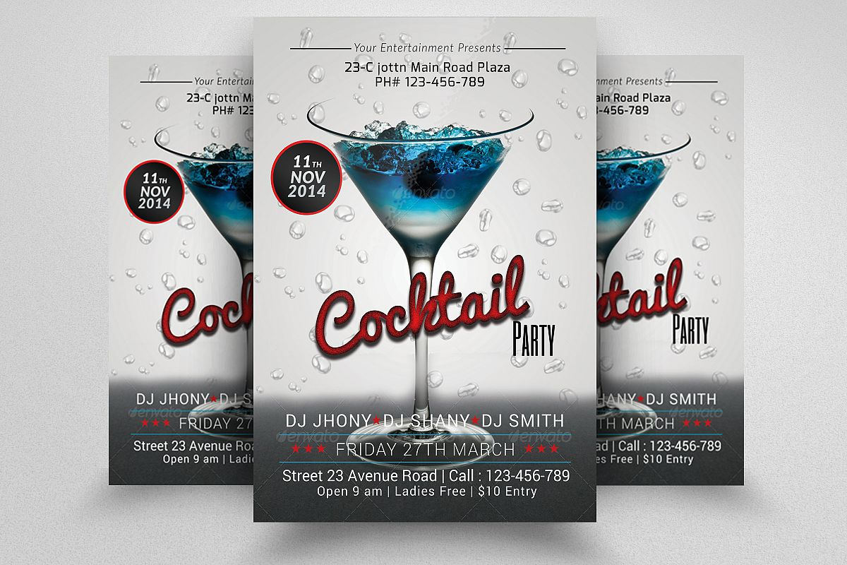 Cocktail Summer Party Flyers example image 1