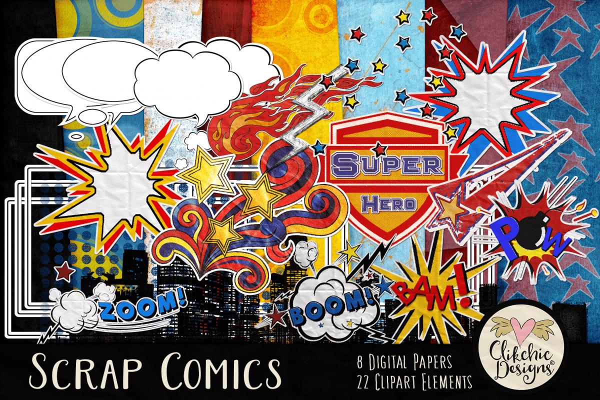 Digital Scrapbook Kit - Scrap Comics Super Hero Clipart Kit example image 1