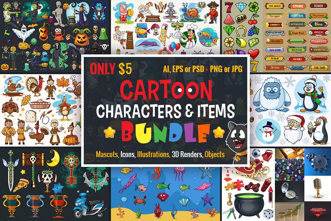 Cartoon Characters & Items Bundle example image 1