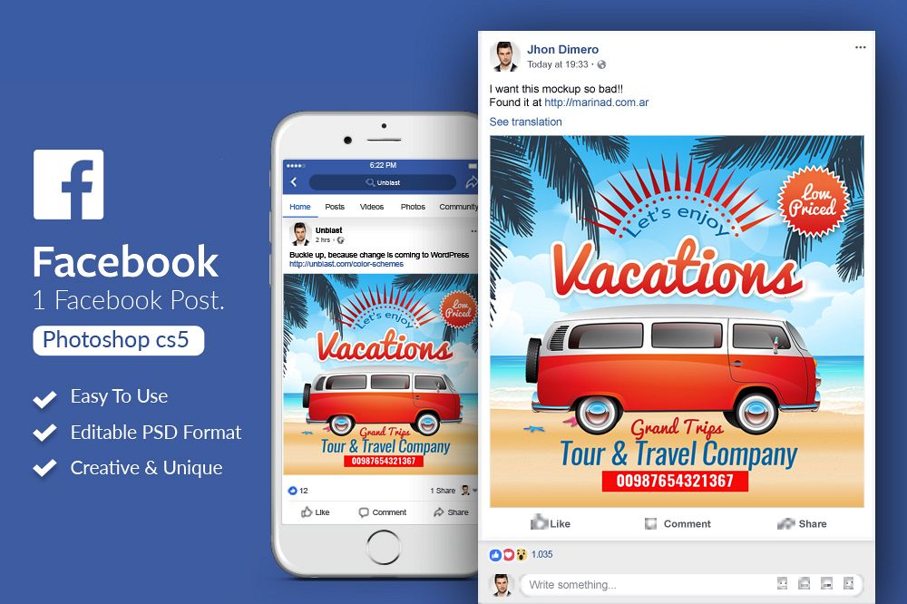 Tour Travel Facebook Post Banner example image 1