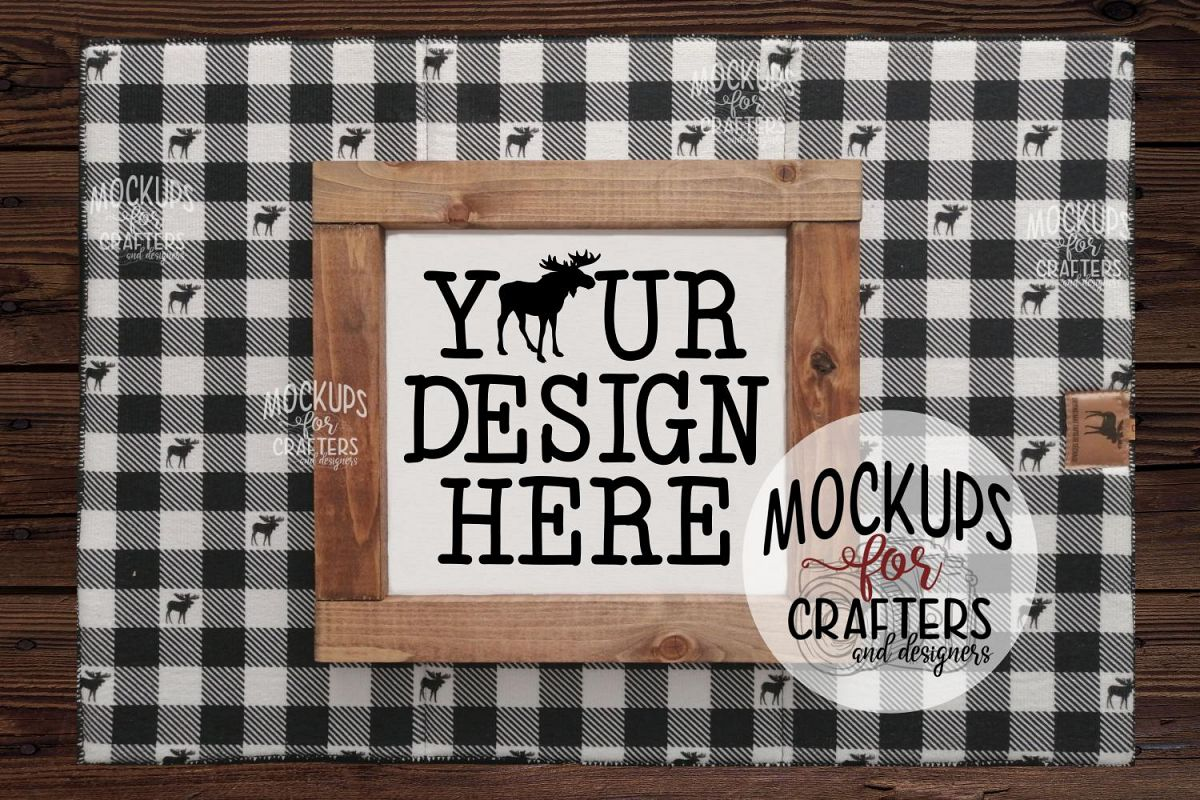 Wood Sign Mock-Up - Buffalo Plaid & Moose Accessories example image 1