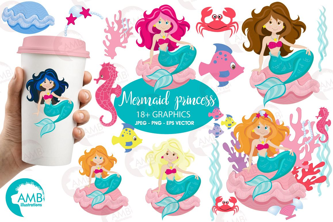Mermaid Princess clipart, graphics, illustrations AMB-818 example image 1