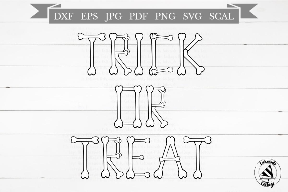 Trick or Treat Halloween Skeleton Bones SVG Design example image 1