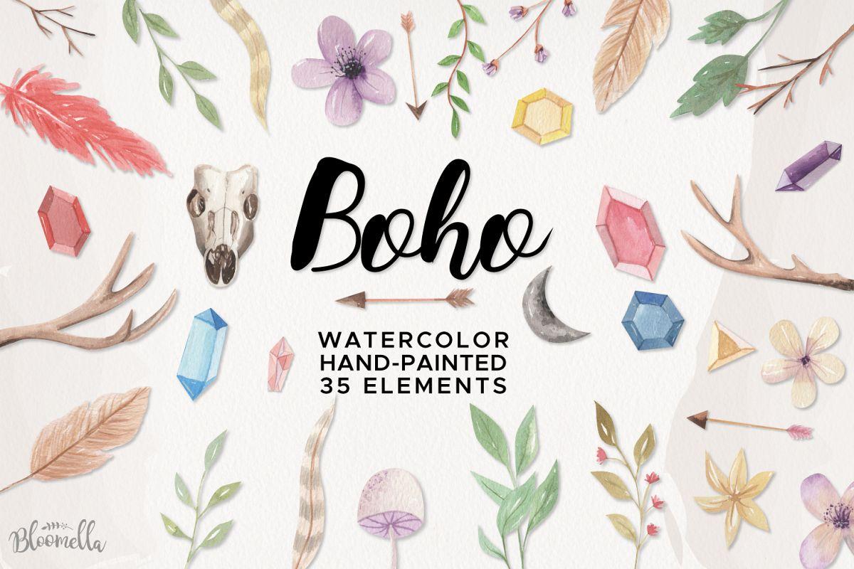 Boho Watercolor HUGE 35 set Flowers Antlers Arrows Gems Leaf example image 1