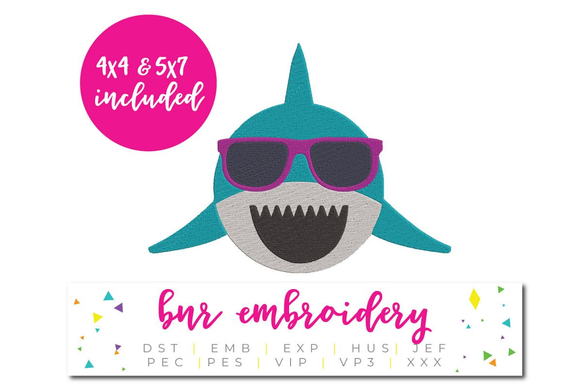 Shark Machine Embroidery Design, Summer Embroidery example image 1