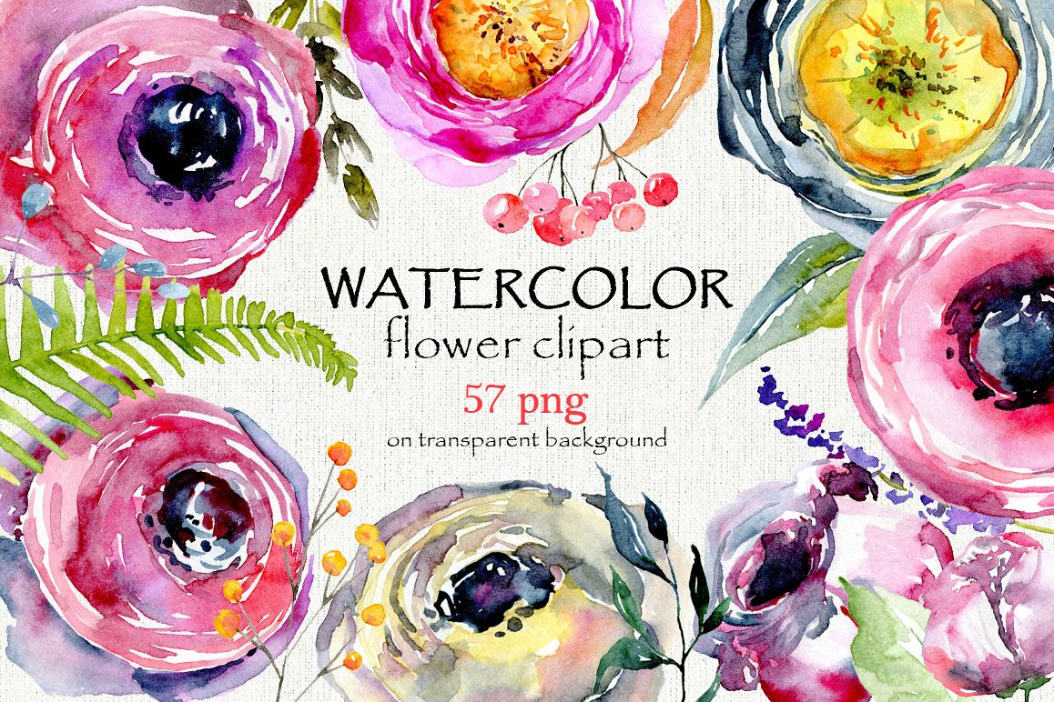 Watercolor flowers, branches, 57 png example image 1