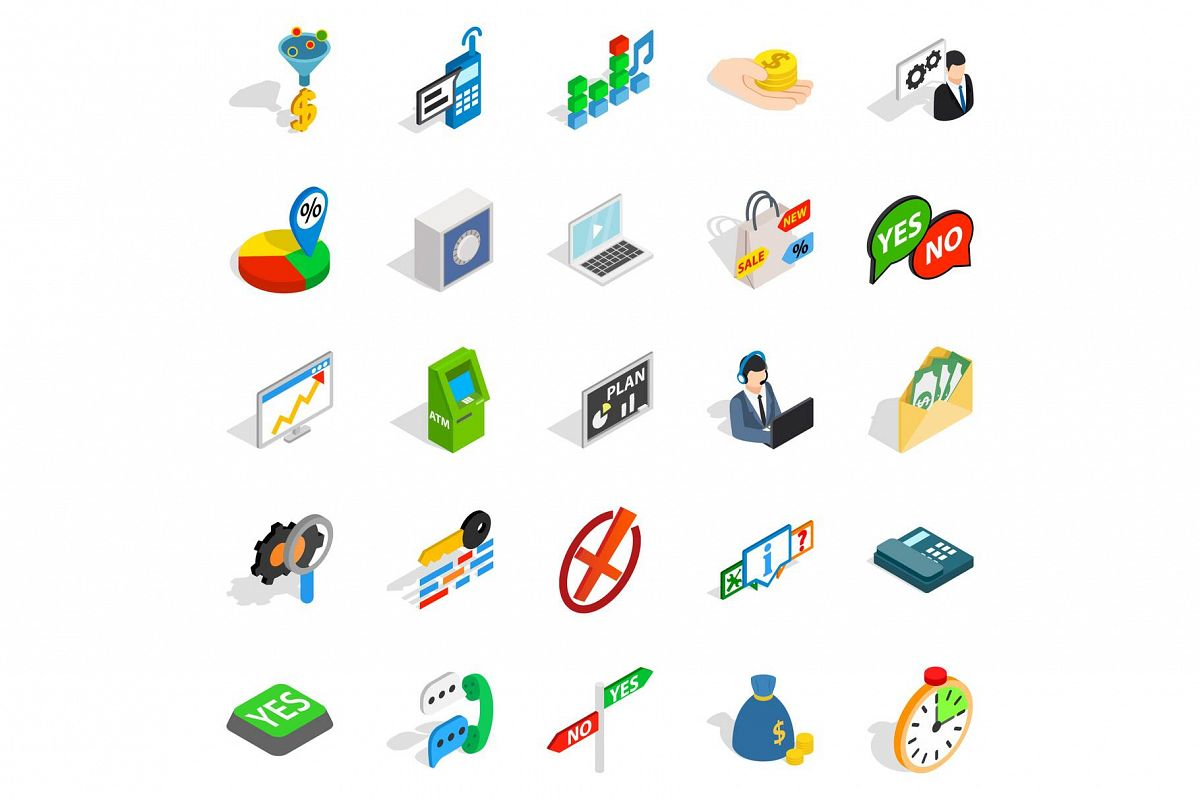 Payment icons set, isometric style example image 1